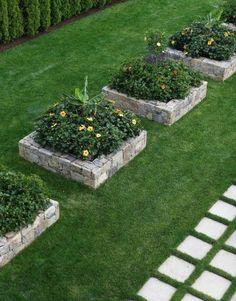 Stone raised flower beds