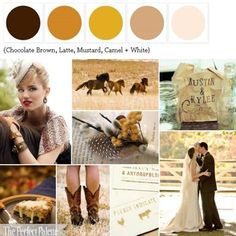 {Wild Horses}: A Palette of Chocolate Brown, Latte, Mustard, Camel + White via The Perfect Palette xo http://www.theperfectpalette.com/2011/07/wild-horses-chocolate-brown-latte.html
