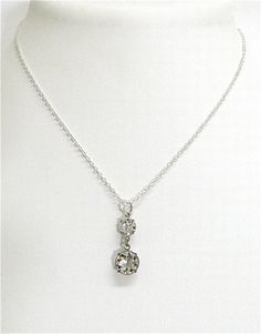 Vintage jewelry. Crystal pendant necklace Art Deco $38.00
