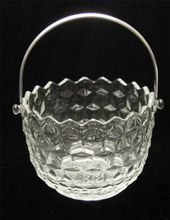 Fostoria American Glass Ice Bucket With Chrome Plated Handle