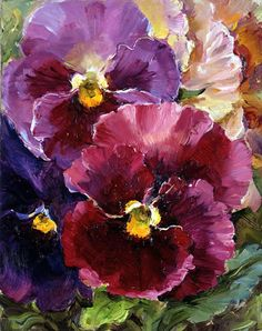 Pansies. Small note card from Anne Cotterill Flower Art cards and prints