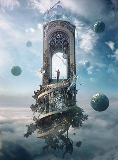 "Fantasy Artwork: ""Knocking On Heaven's Door"" by Jie Ma Fantasy Artwork, Digital Art Fantasy, Surreal Artwork, Fantasy Kunst, Anime Fantasy, Fantasy Places, Fantasy Landscape, Fantasy Art Landscapes, Landscape Design"