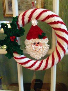 Crocheted Wreath Santa Wreath