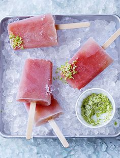 Watermelon and lime daiquiri popsicles