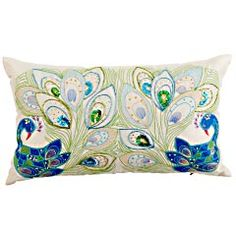 "Love this pillow, but who wrote this description?  ""Two peacocks meet and challenge each other to a dazzle-off. It's a scene filled with sequins, beads, embroidery and even shimmering mirror insets. The winner? You. That is, if you like gorgeously embellished pillows. And stories.""  $27.96"