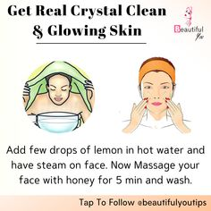 how to get glowing skin: just use these diy face masks and tips to get glowing skin naturally at home. Good Skin Tips, Clear Skin Tips, How To Clear Skin, Clear Skin Face, Face Skin Care, Beauty Tips For Glowing Skin, Beauty Skin, Face Beauty, Skin Care Routine Steps