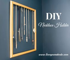 Easy DIY Necklace Holder to organize your jewelry - Easy DIY Necklace Holder to. Easy DIY Necklace Holder to organize your jewelry – Easy DIY Necklace Holder to organize your jewelry in a Diy Jewelry To Sell, Diy Jewelry Holder, Diy Necklace Holder Stand, Diy Necklace Organizer, Shanty 2 Chic, Jewellery Storage, Jewelry Organization, Jewellery Displays, Jewelry Tray