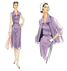 V9083, Misses' Jacket, Dress and Belt | 1950s Vogue Pattern reissued