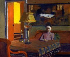 Woman in a Purple Dress Next to a Lamp / Felix Vallotton - 1898