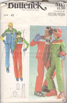 cc06fe81e50 1970s Butterick 5111 Mens Ski Jacket Vest and Jumpsuit Pattern Adult  Vintage Sewing Pattern Size Chest 42