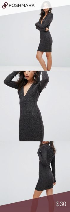 Hooded Glitter Mini Dress ASOS Size 2 This Club L glitter bodycon dress has long sleeves, a plunging neckline in front, slight shoulder pads, and an awesome hood! Size 2. WORN ONCE, in excellent condition ASOS Dresses Mini