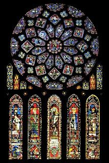 The North Rose window of Chartres Cathedral, France, CE. The stained glass window shows scenes of Jesus Christ, the prophets and 12 kings of Judah.