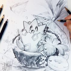 Finished pencil drawing of Togepi ^_^ Can't wait to do the colored version ♡♡♡ Tools: Faber Castell pencils B, Cartoon Drawings, Cute Drawings, Pencil Drawings, Animal Sketches, Drawing Sketches, Sketching, Pokemon Sketch, Cute Pokemon, Kawaii Art