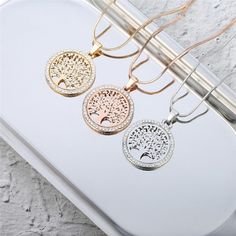 Hot Tree of Life Crystal Round Small Pendant Necklace Gold Silver Colors Bijoux Collier Elegant Women Jewelry Gifts - Cute real 925 silver fashion Necklace white gold plated. Shop for handmade jewelry gifts for mother daughter wife husband. Gold Pendant Necklace, Crystal Necklace, Silver Earrings, Necklace Charm, Silver Ring, Golden Necklace, Crystal Pendant, Silver Necklaces, Jewelry Necklaces