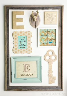 Try turning a cast-off frame into a gallery-wall inspired collage, complete with cool colors and fun accents!