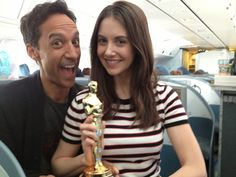 Alison Brie ‏@alisonbrie  I'd like to thank...RT @dannypudi: We won! (please don't tell Mychael Danna we stole his Oscar on the plane)
