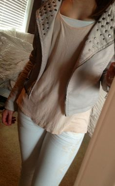 beige leather jacket, blush top, white skinnies. outfit.
