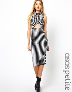 ASOS PETITE Exclusive Striped Bodycon Dress With Cut Out Front