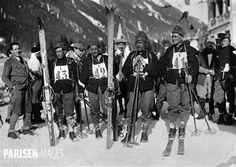 Jeux olympiques d'hiver de 1924, à Chamonix (Haute-Savoie). Equipe de skieurs suisses.
