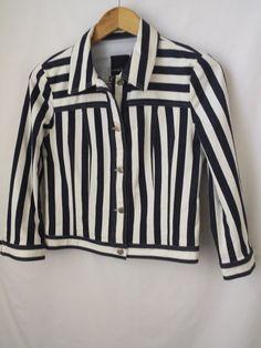 Nanette Lepore Jacket Size 5 Jean Style Navy Blue Striped 5F Bergdorf Goodman #NanetteLepore #JeanJacket