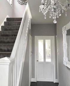 Narrow white hallway in 2019 hallway lighting ideas дизайн д Hallway Colours, White Hallway, Carpet Stairs, House Interior Decor, Grey Carpet Living Room, Grey Hallway, Luxe Interiors, Hallway Lighting, Hallway Decorating
