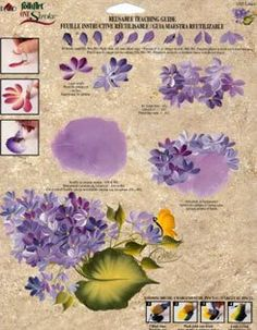 Purple flower painting with leaves and butterfly. One Stroke - Oksana Volkova - Picasa Web Albums Painting Patterns, Fabric Painting, Painting & Drawing, Tole Painting, Painting Tutorials, Painting Techniques, Donna Dewberry Painting, Art Worksheets, One Stroke Painting