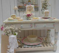 Miniature Shabby Chic Bakery table by HamptonIvyDesigns on Etsy