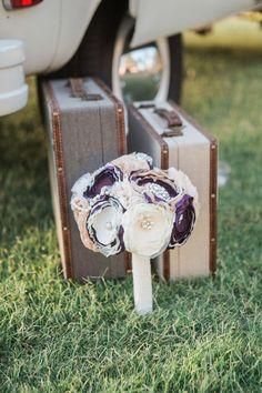 Alternative wedding bouquet, purple & cream, pearls, lace flowers, vintage suitcases // Ivonne Carlton Photography