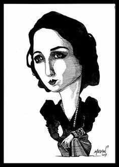 Caricatura de Juana de Ibarbourou (tinta china)