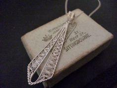 "Unique large vintage filigree pendant necklace - 925 - Filigree - Sterling silver - Pendant 2.25"" - Necklace 18"" by MalvernJewellery on Etsy"