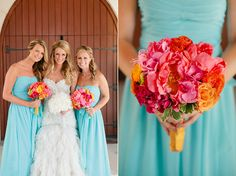 I was thinking the opposite since most people would look better in turquoise. I don't think I like the orange in the bouquet though.