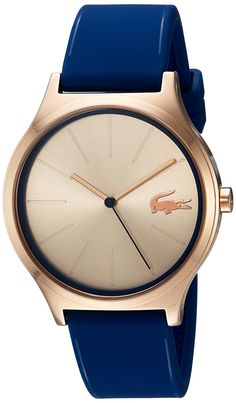 Lacoste Womens Nikita Quartz Gold and Silicone Casual Watch, Color:Blue (Model: 2000944) >>> Visit the image link more details.