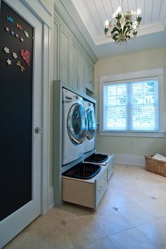 Smart Laundry Room Ideas ((REALLY LIKE HAVING THE W/D UP OFF THE FLOOR! Provides extra storage below, but my real favorite perk of this is NOT HAVING TO BEND DOWN OVER AND OVER AGAIN!! Anyone with a bad back can appreciate my reasoning. And it could be more accessible for those handicapped in a wheelchair or power chair too.))