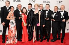 Lauren Worsham, Bryce Pinkham, Tony winner Robert L. Freedman, Jefferson Mays, Tony winner Darko Tresnjak and cast and crew of 'A Gentleman's Guide To Love And Murder' pose in the press room during the 68th Annual Tony Awards on June 8, 2014 in New York City.   Credit: Getty Images for Tony Awards Pro
