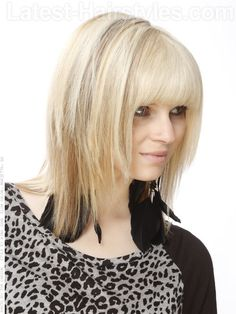 Classic Blonde Shag Cut with Long Bangs