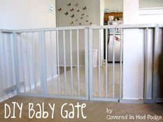 Covered in Mod Podge: DIY Baby Gate {or my husband calls it a baby cage} inch, 10 foot long PVC Gorilla Glue 2 hinges of your choice Lock of your choice Spray paint {we used three cans} Drill and bit Diy Dog Gate, Diy Baby Gate, Baby Gates, Pet Gate, Dog Gates, Pvc Projects, Home Projects, Bebe Love, Baby Safety