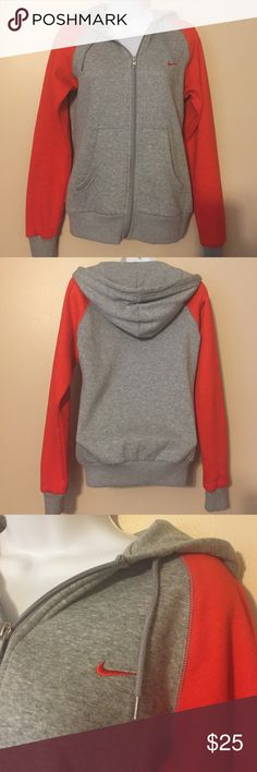 [Nike] Zip-up Hoodie Sweatshirt EUC Hooded gray sweatshirt zips-up with front pockets. Red sleeves 05-16-25-08-25-13 Nike Tops Sweatshirts & Hoodies