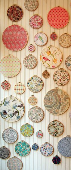 Display those lovely bits of fabric you've been hoarding in embrodiery hoop frames with this how-to from the Purl Bee.