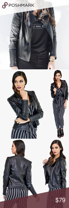BLACK BIKER JACKET Boost your street-style status with this classic black biker jack-it's cool but still feminine. Wear yours with everything from a mini dress to your favorite casual look.  Black Faux Leather Motocross quilt detailed sleeves 100% PU (Self)  100% Polyester (Lining) Style Link Miami Jackets & Coats