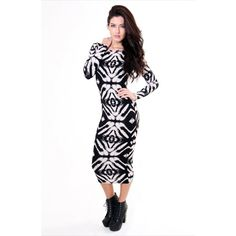 Chique Ethnic Print Midi Dress