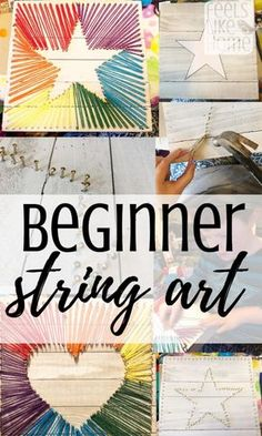 How to make easy string art for beginners - This simple step by step tutorial shows how to DIY string art with yarn, cords, or twine (embroidery thread doesn't look as nice). Includes patterns and can be made by kids or adults. Creative design ideas for a String Art Diy, String Art Tutorials, String Art Patterns, String Art Heart, String Crafts, String Art Templates, Wine Bottle Crafts, Mason Jar Crafts, Arte Linear