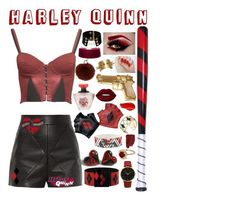 ♦️Black and red Harley Quinn inspired outfit♦️ by karanova on Polyvore featuring Balenciaga, Clare Tough, Larsson & Jennings, Georgine, Rebecca Minkoff, Yves Salomon, Lime Crime, Urban Decay and Rock Rebel