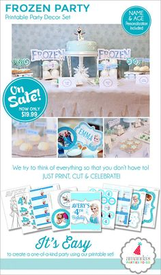Frozen Birthday Party Decorations  Frozen Party Printable