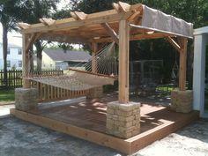 hot tub under pergola with hammock | Weekly winner #4 - Rockledge, FL #cedar #pergola over deck, fit with a ...
