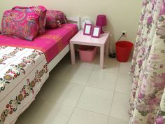 Perfect combination pink and white. My lovely room side White bed with pinks side table