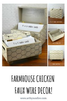 Raising backyard chickens is all the rage these days. I have a couple of hens in a backyard coop myself and love it. For you and your farmhouse décor is this faux chicken wire design for the storage bins, recipe boxes and index card binders.