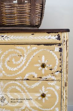 Mustard Seed Yellow Photo Shoot-I really like this dresser.  What a wonderful paint job.