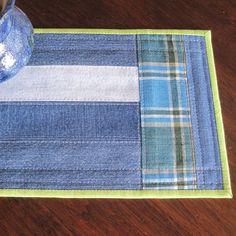 Mug rug upcycled denim strips with blue and by countrybydesign