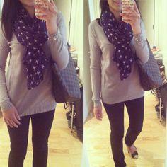 #gap Pure sweater, #oldnavy bird print scarf, #bananarepublic skinny jeans... Cute!