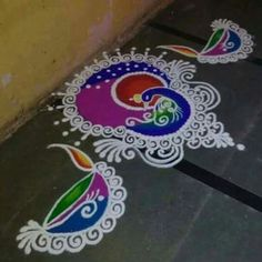 Beautiful and Easy Indian Peacock Rangoli Designs - Indian Fashion Ideas Rangoli Designs Peacock, Rangoli Side Designs, Easy Rangoli Designs Diwali, Rangoli Designs Latest, Simple Rangoli Designs Images, Free Hand Rangoli Design, Rangoli Ideas, Rangoli Designs With Dots, Beautiful Rangoli Designs